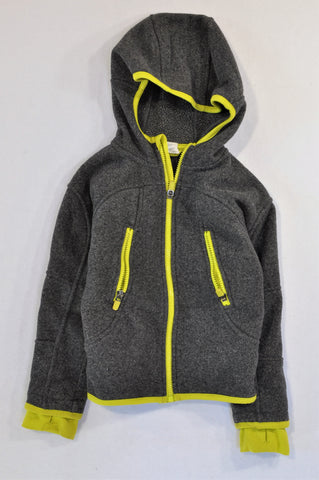 H&M Grey Fleece Yellow Trim Zipper Hoodie Boys 4-6 years