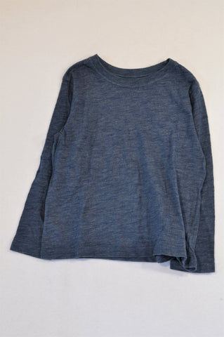 Woolworths Dark Blue Heathered Long Sleeve T-shirt Boys 4-5 years