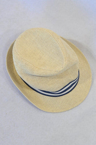 H&M Beige Straw Blue Trim Hat Boys 9-12 months