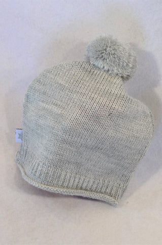 Naartjie Grey Knit Bubble Beanie Unisex 3-6 months