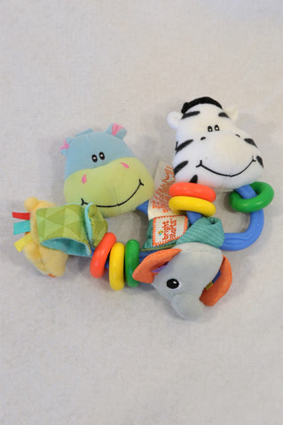 Bright Starts 4 Pack Animal Rattle & Wrist Shaker Toys Unisex N-B to 2 years