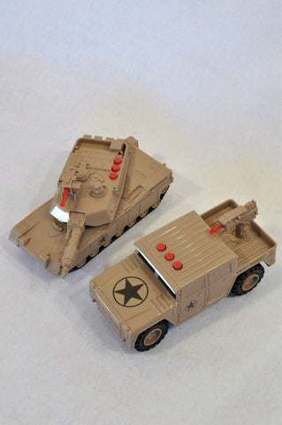 Unbranded 2 Piece Brown Army Bakkie & Tank Toys Boys 2-6 years