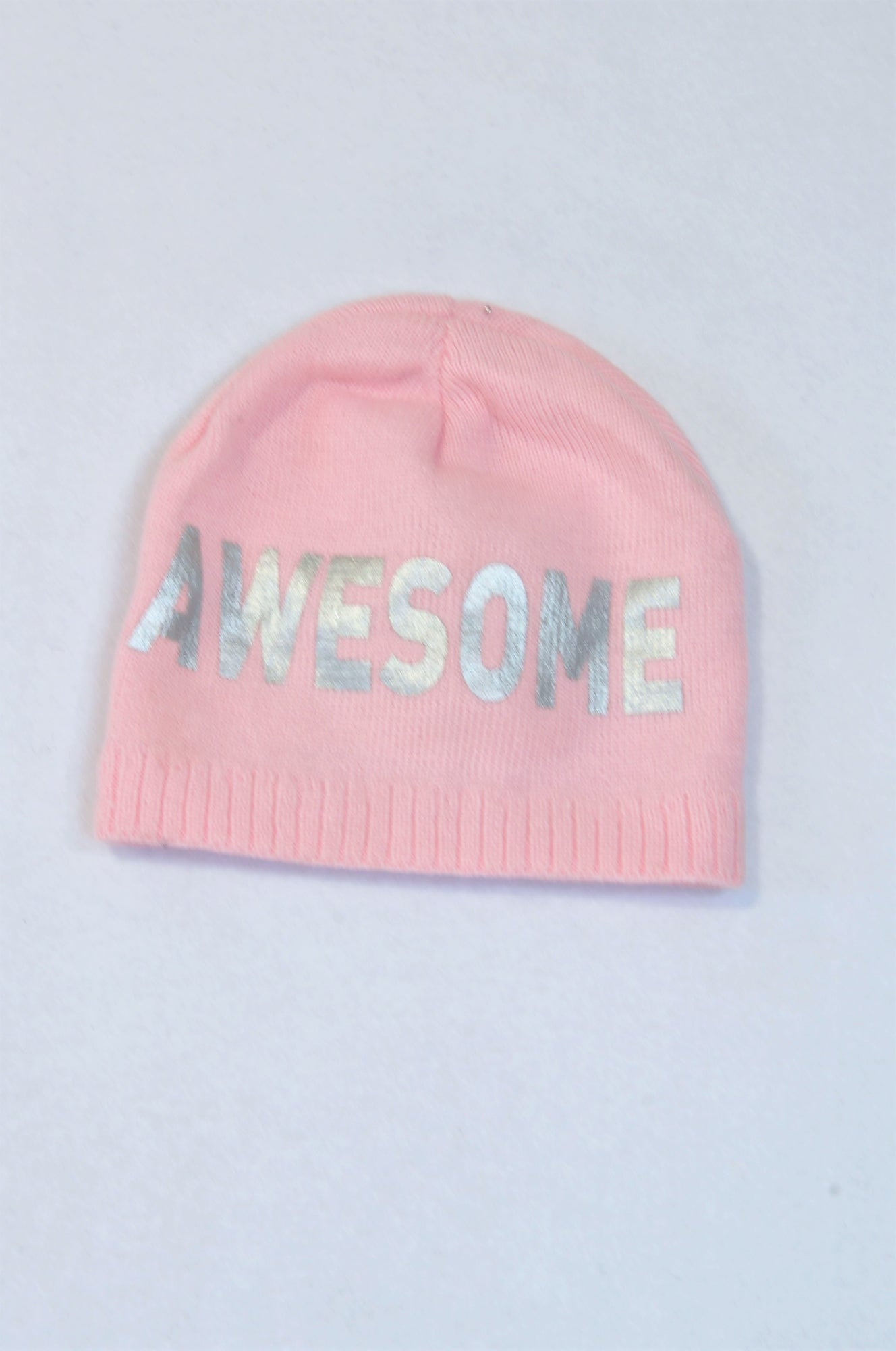 Unbranded Pink Knit Awesome Beanie Girls 5-7 years
