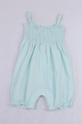 Woolworths Light Blue Check Strappy Romper Girls 3-6 months