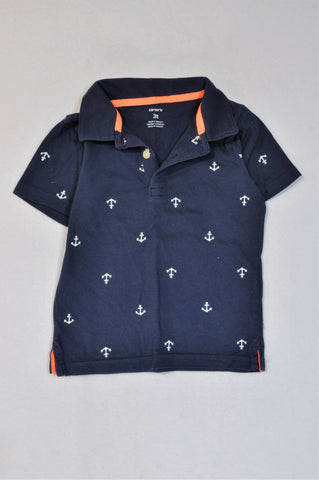 Carter's Navy Anchor Golf T-shirt Boys 2-3 years