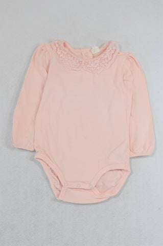 H&M Pink Long Sleeve Lace Collared Baby Grow Girls 12-18 months