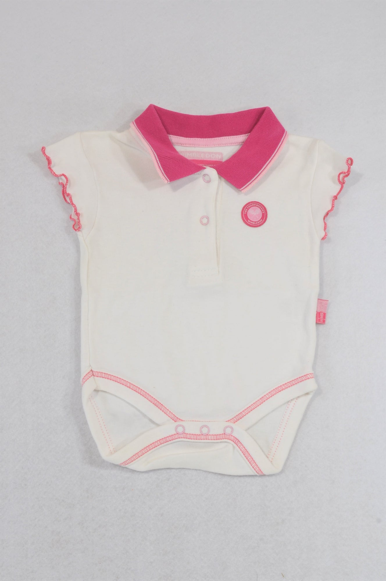 Wimbledon White Cerise Collared Baby Grow Girls 3-6 months