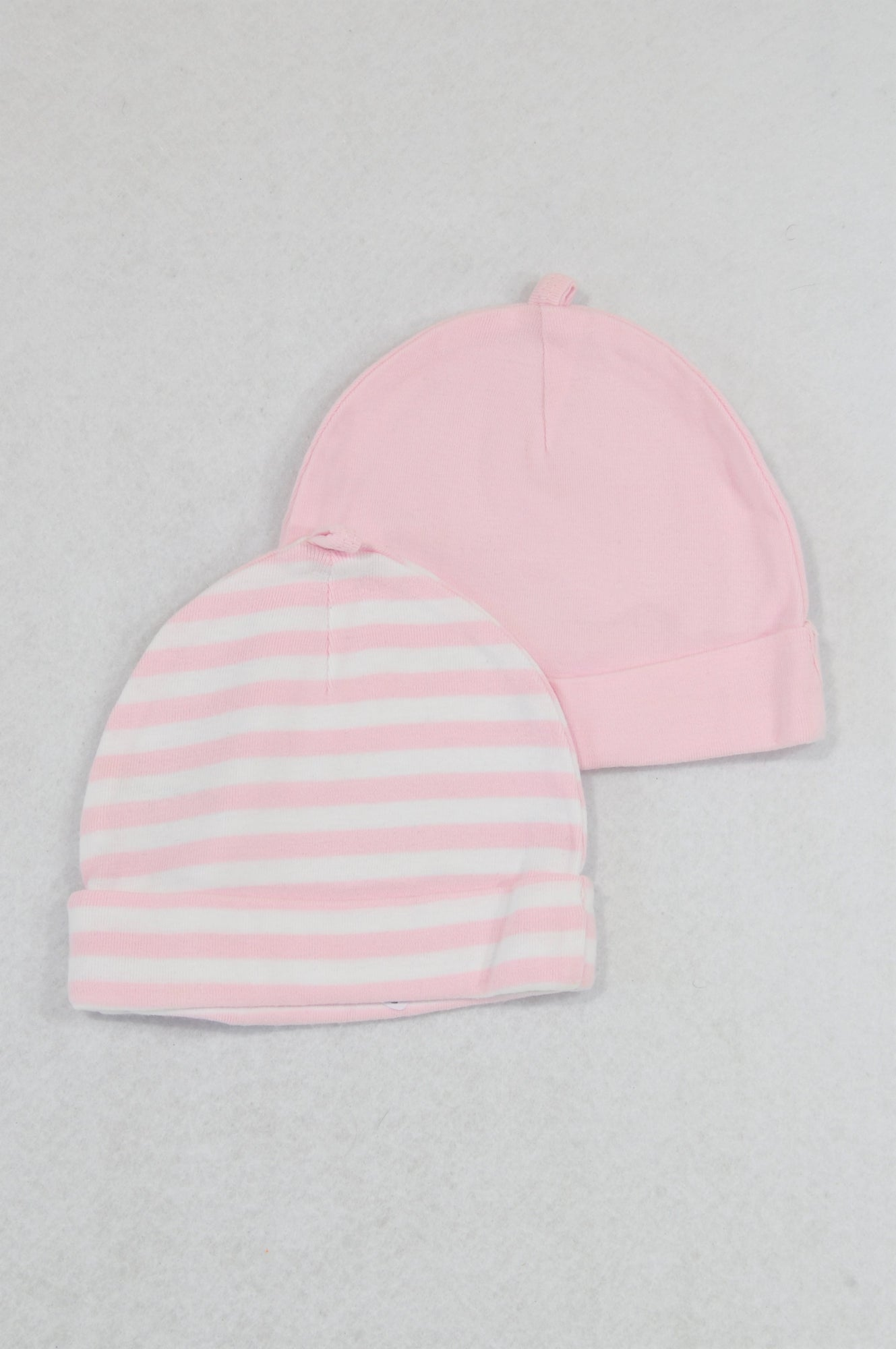 Woolworths 2 Pack Pink & White Stripe Beanies Girls 6-9 months