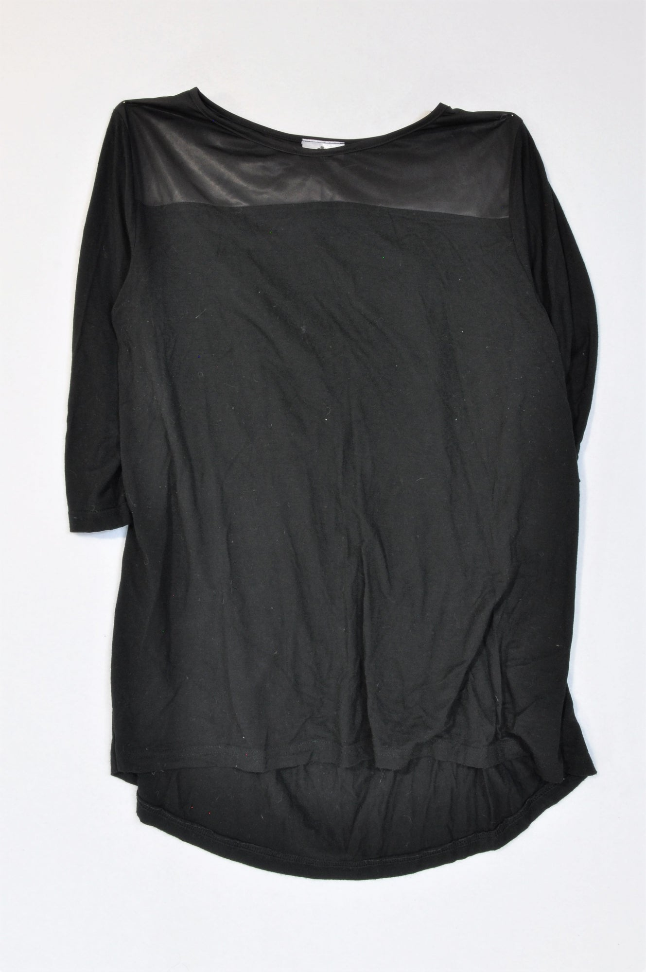 Monsoon Black Sateen Neckline Blouse Women Size 10