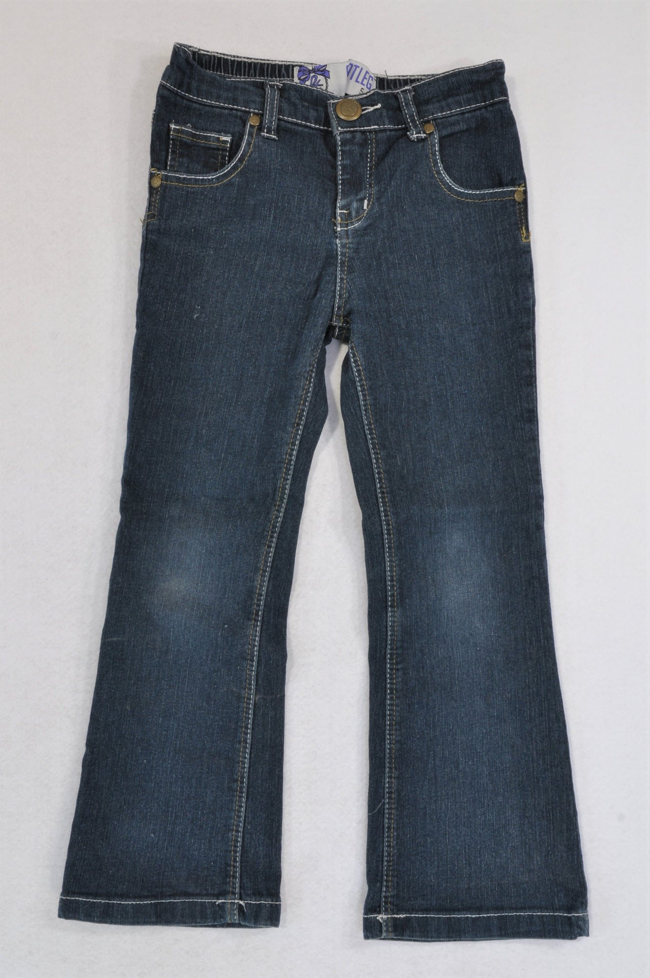 Mr. Price Dark Wash Cream Stitch Bootleg Jeans Girls 5-6 years