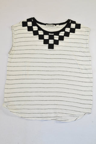 Country Road Off White & Black Thin Stripe Block Neckline Blouse Women Size M