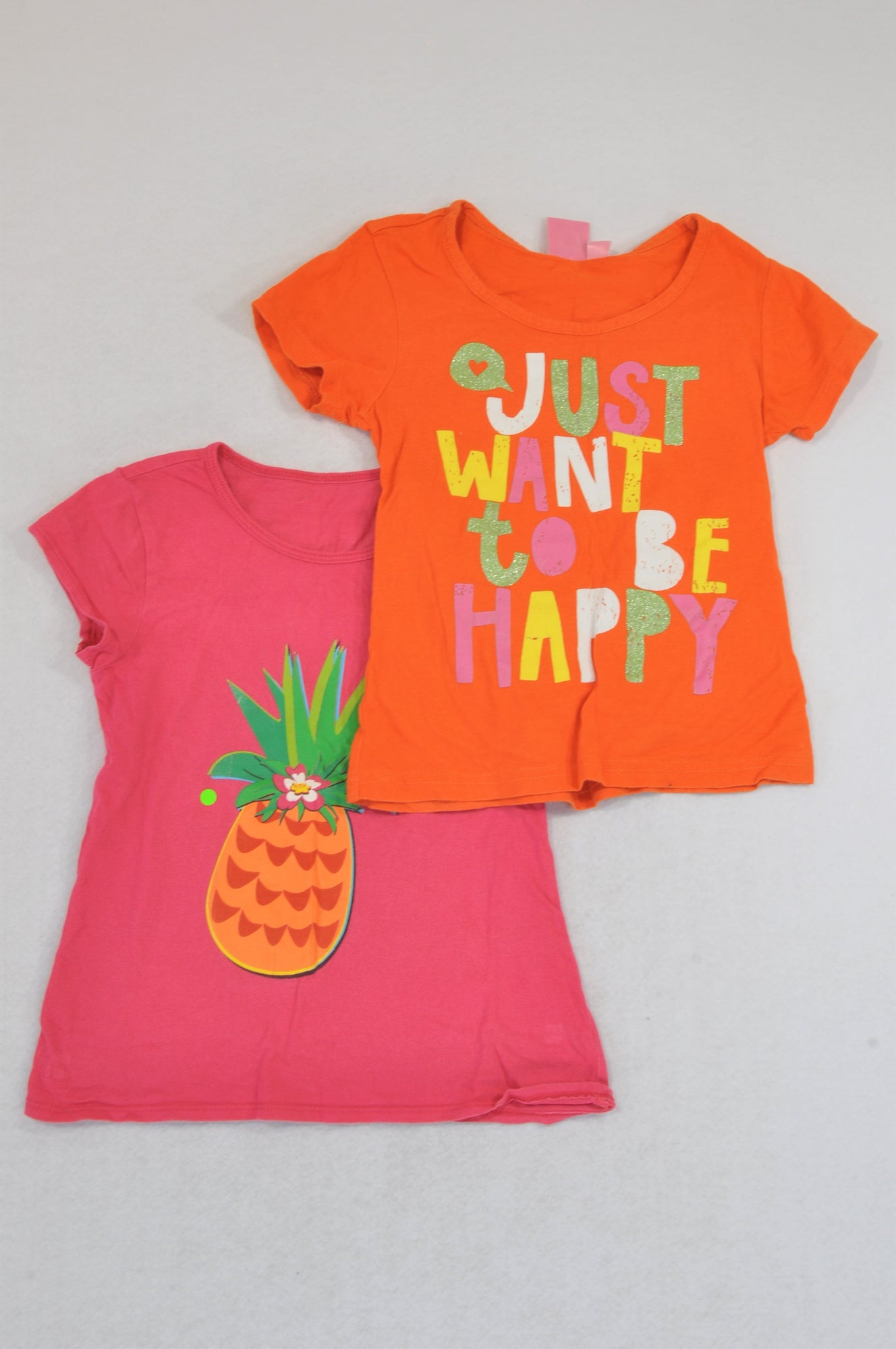 QTee 2 Pack Cerise Pink Pineapple & Just Wanna Have Fun T-Shirts Girls 4-5 years