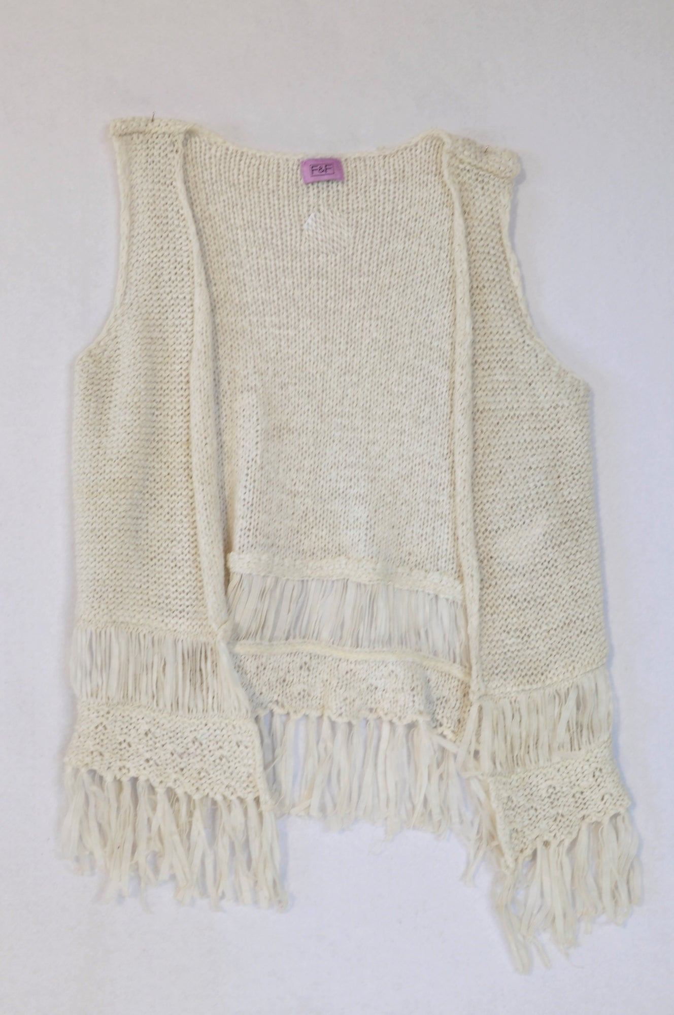 F&F White Crochet Tassel Cardigan Girls 7-8 years