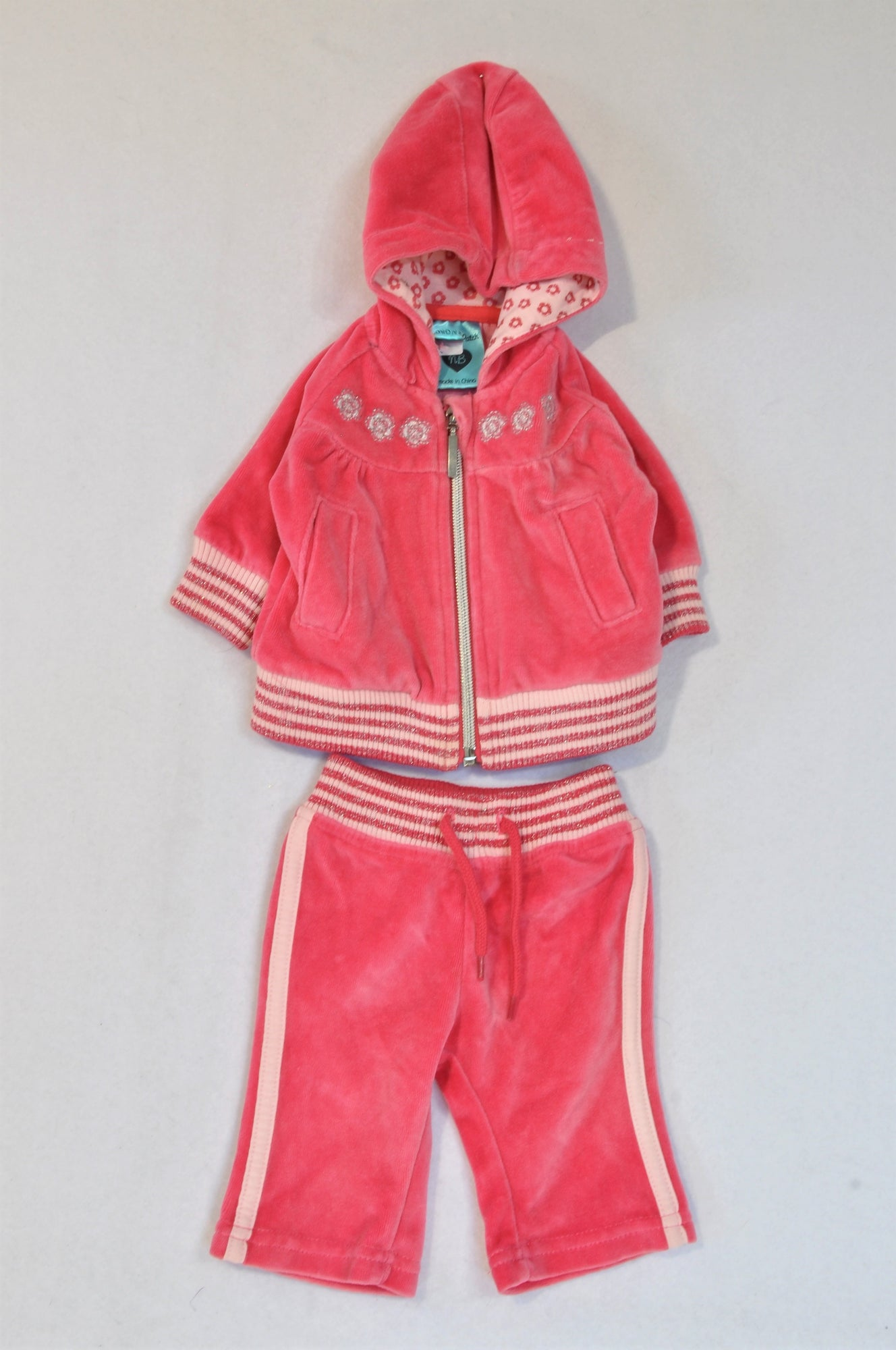 Pumpkin Patch Pink Velour Ribbed Track Suit Girls N-B