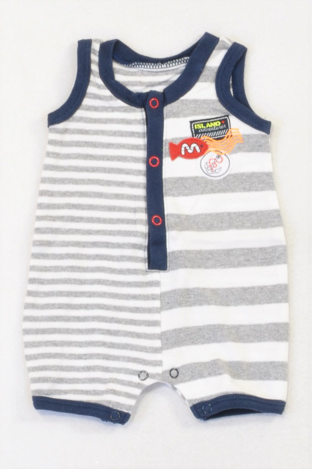 Woolworths Grey Stripe Navy Trim Patchwork Romper Boys N-B