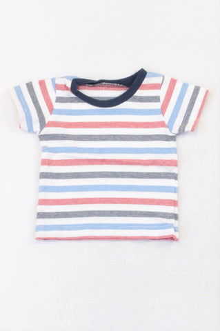 Woolworths Red Blue & Navy Stripe T-shirt Boys 0-3 months