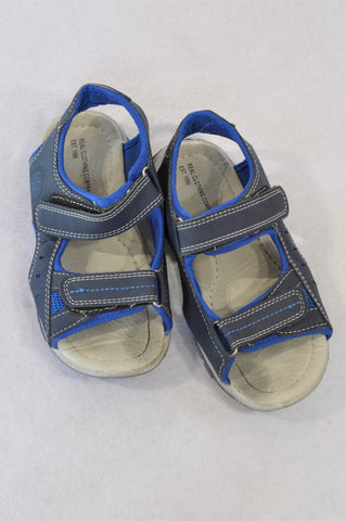 Pick 'n Pay Youth Size 1 Grey & Blue Strap Sandals Boys 7-8 years