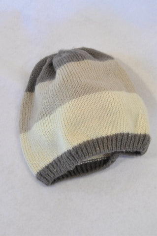 Unbranded Beige Brown & Grey Knit Beanie Boys 7-14 years
