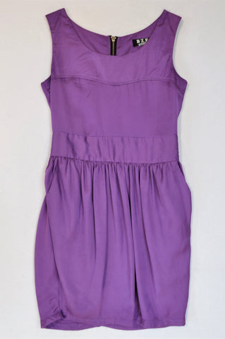 BZFF Purple Pleated Pocket Lined Dress Women Size 6