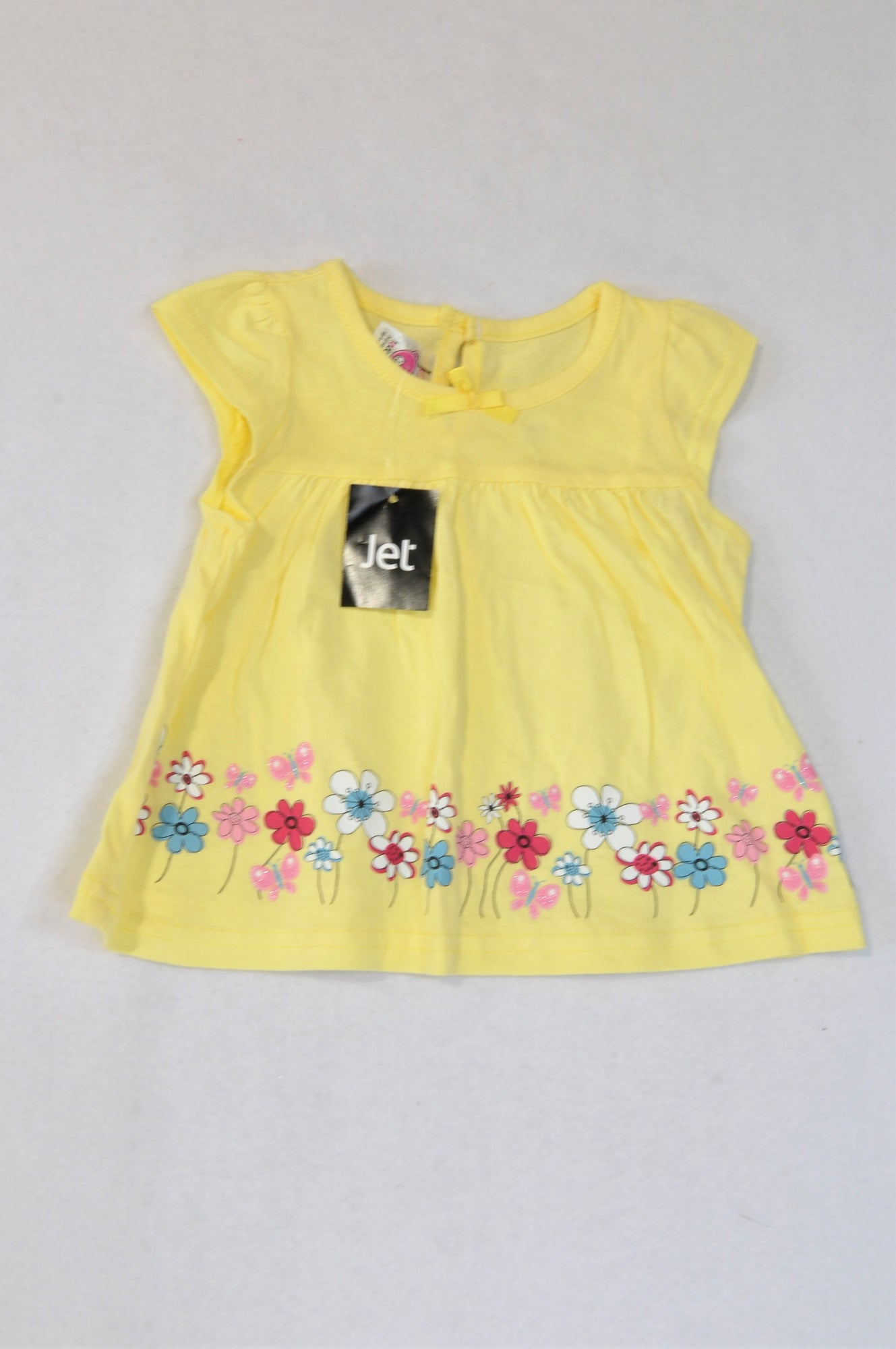 New Jet Soft Yellow Flower Trim Bow Dress Girls 3-6 months