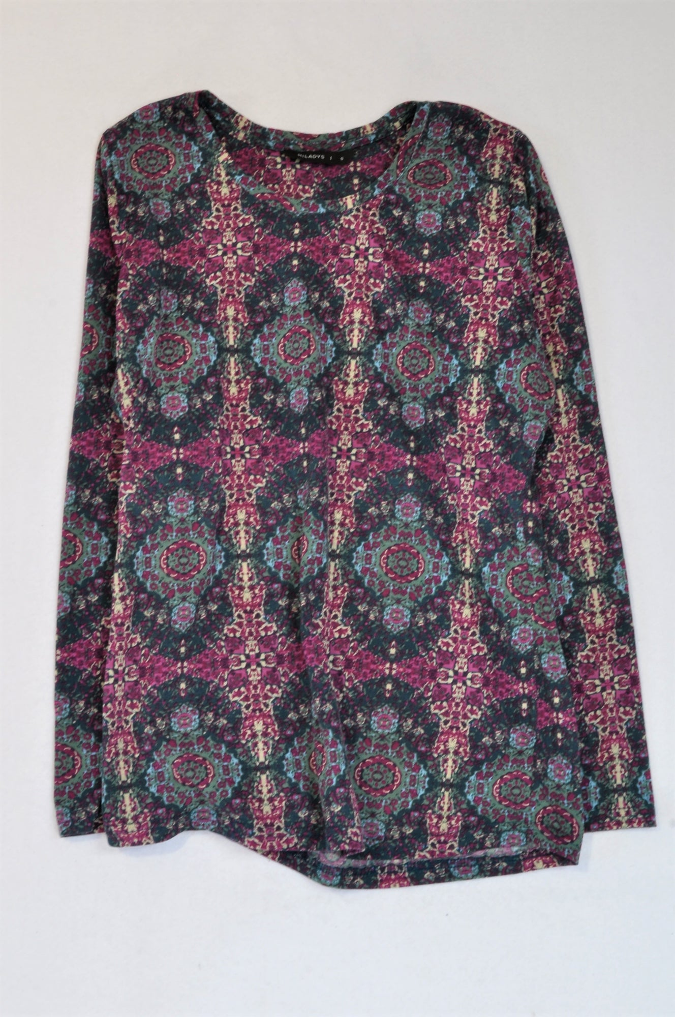 Miladys Purple & Teal Paisley Top Women Size S