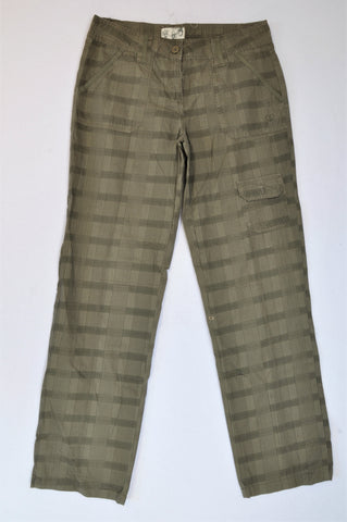 Trail Olive & Brown Plaid Cargo Pants Women Size 14