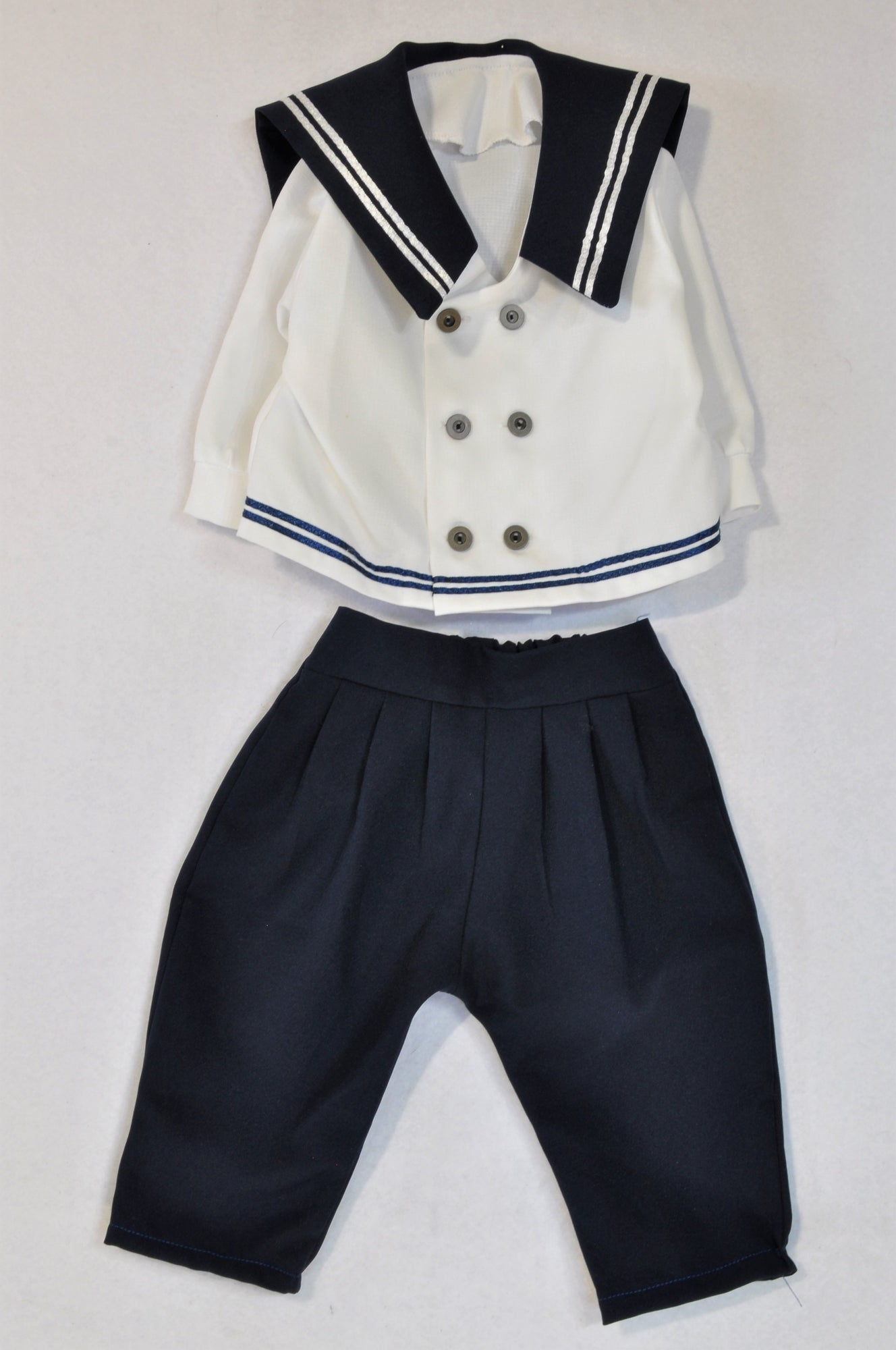 Unbranded Navy & White Sailors Two Piece Outfit Unisex 3-6 months