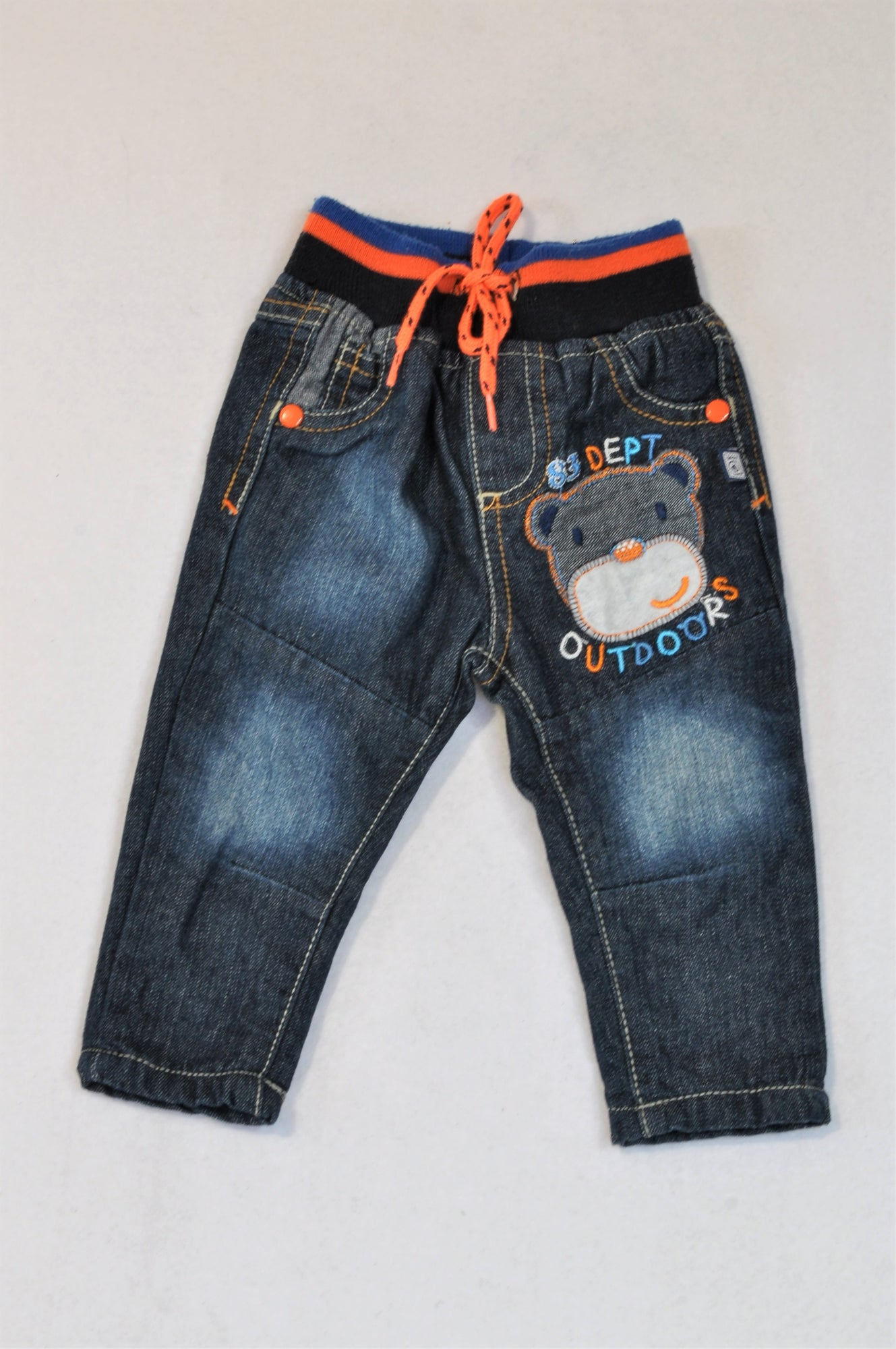 Ackermans Orange & Navy Banded Bear Jeans Boys 0-3 months