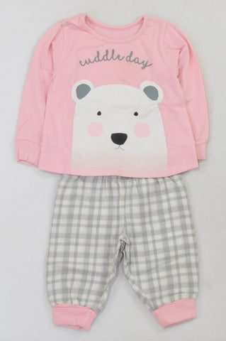 Woolworths Cuddle Day Pink Top & Plaid Bottoms Pyjamas Girls 6-12 months