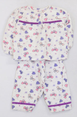 Woolworths Bows & Hearts White Flannel Pyjamas Girls 6-12 months