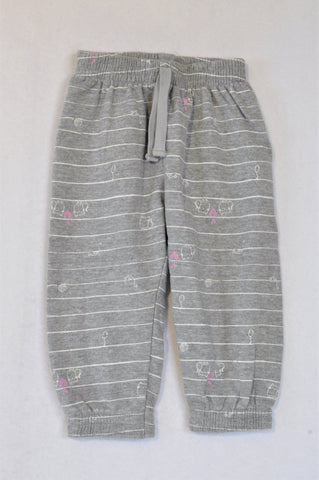 Woolworths Grey Cat & Mouse Pink Heart Pants Girls 18-24 months