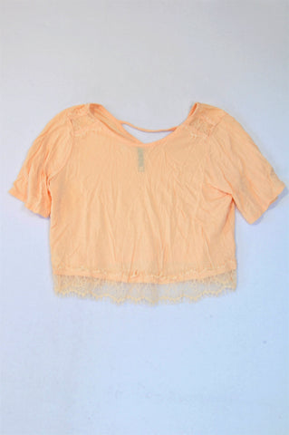 Woolworths Peach Lace Trim Crop Top Women Size XS