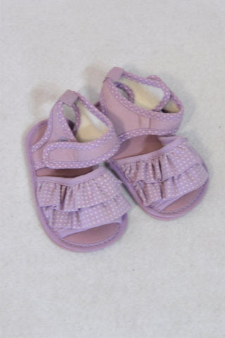 Ackermans Size 1 Purple Dotty Frill Sandals Girls 3-6 months