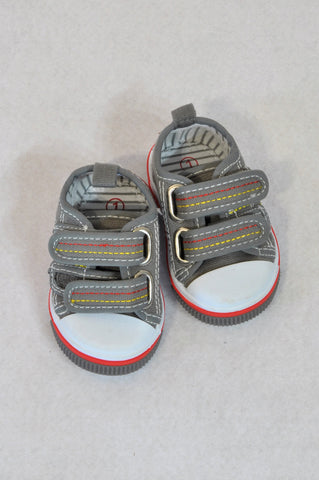 Ackermans Size 1 Grey Strap Red Detail Shoes Boys 3-6 months