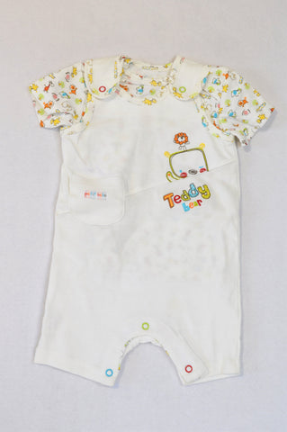 New Woolworths Multi Color Teddy Bear T-Shirt & Dungarees Romper Boys 3-6 months
