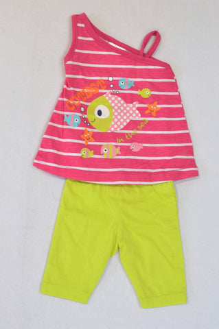 New Pep Pink Under The Sea Top & Green Leggings Outfit Girls 0-3 months