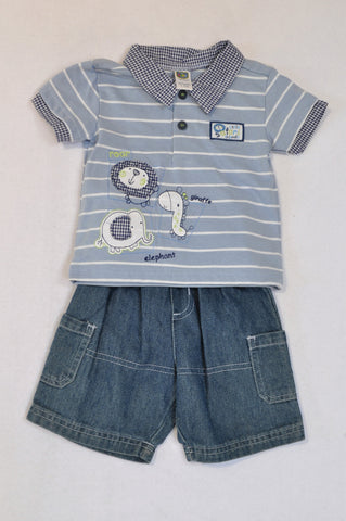 Ackermans Blue Stripe Lion Golf T-Shirt & Denim Shorts Outfit Boys 0-3 months