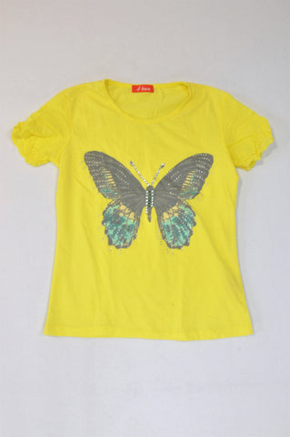 4teen Bright Yellow Grey Sequin Butterfly T-shirt Girls 11-12 years