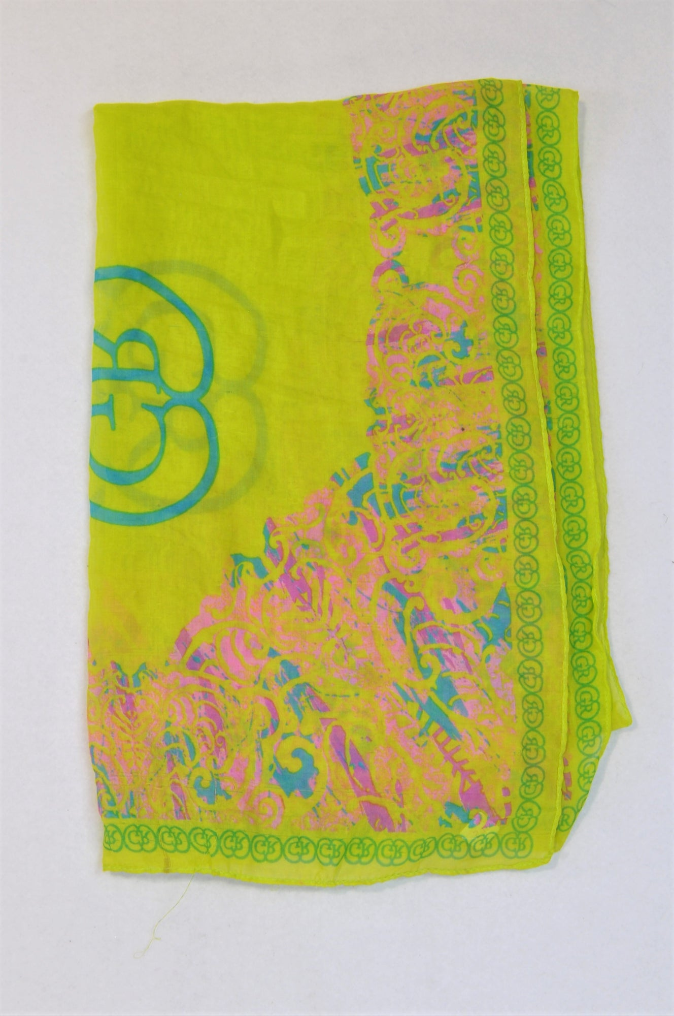 Unbranded Lime Green Pink Flower Trim Scarf Women