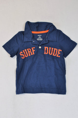 Carter's Navy Surf Dude Collared T-shirt Boys 6-12 months
