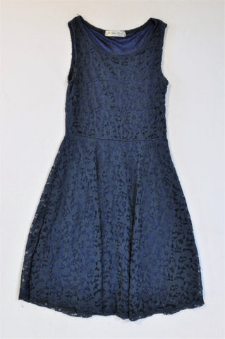 Jiu Zhu Navy Lace Overlay Dress Women Size S