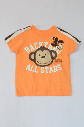 Carter's Orange Backyard Monkey T-shirt Boys 6-12 months