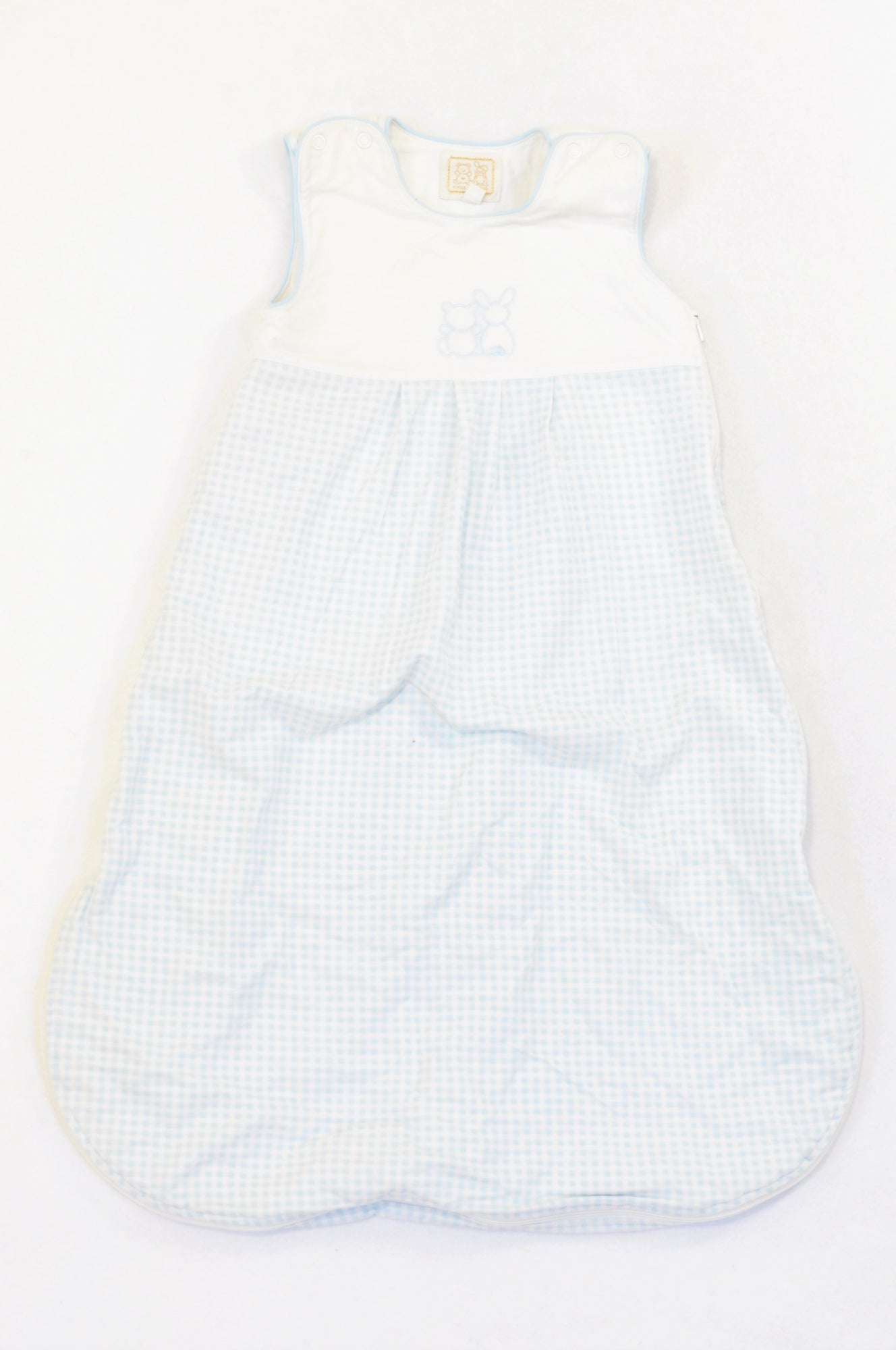 Emile et Rose Soft Blue Check Bunny Bear Medium Weight Sleep Sack Boys 0-6 months