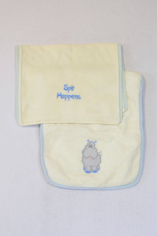 Unbranded 2 Pack Hippo & Spit Happens Burp Cloths Unisex N-B to 2 years
