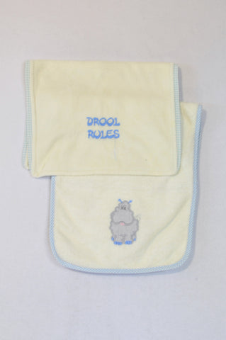 Unbranded 3 Pack Hippo & Drool Rules Burp Cloths Unisex N-B to 2 years