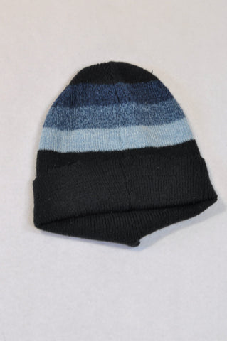 Unbranded Blue Knit Stripe Beanies Boys 1-2 years