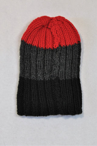 Unbranded Black Grey & Red Panel Knit Beanie Boys 2-4 years