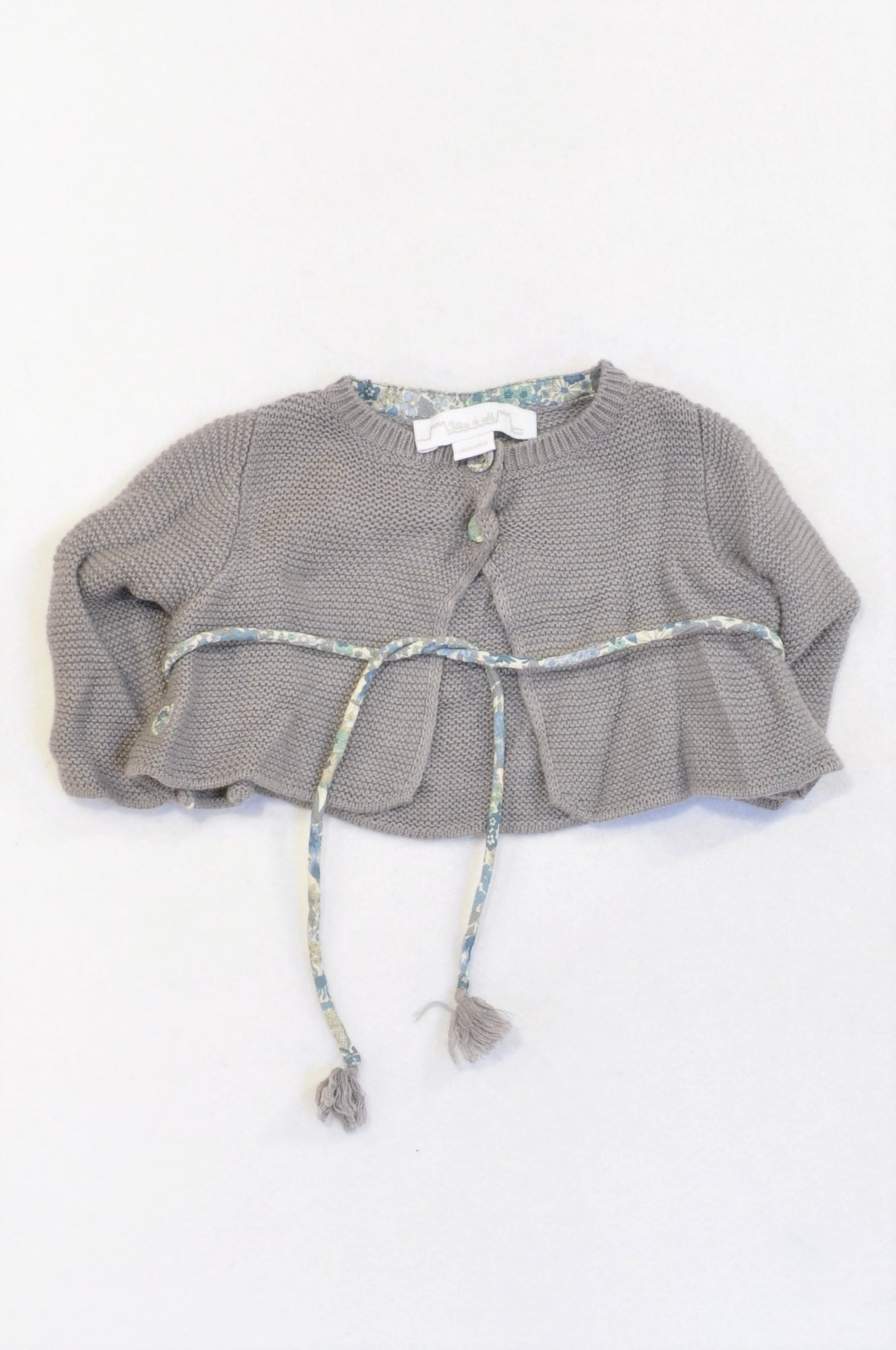 Chatea De Sable Brown Knit Drawstring Cardigan Girls 3-6 months