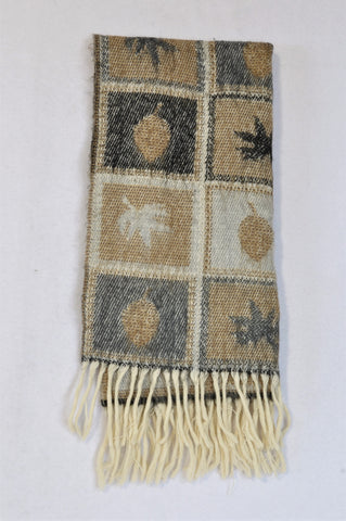 Unbranded Beige & Black Knit Palm Tree Scarf Unisex 7-14 years