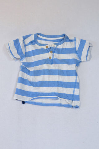 Woolworths Light Blue Broad Stripe T-shirt Boys 18-24 months